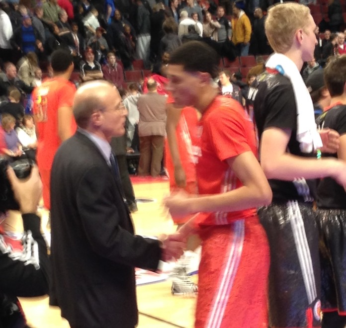 Coach with Co-MVP Justin Jackson after West Wins