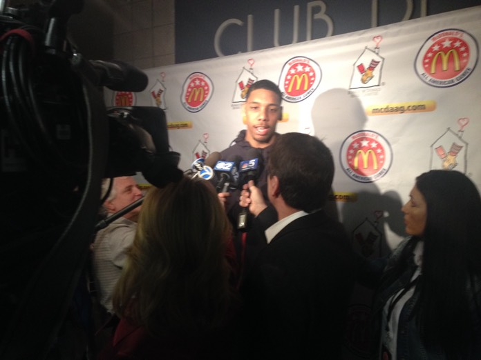 Jahlil Okofor getting interviewed at McDonald's Media Day