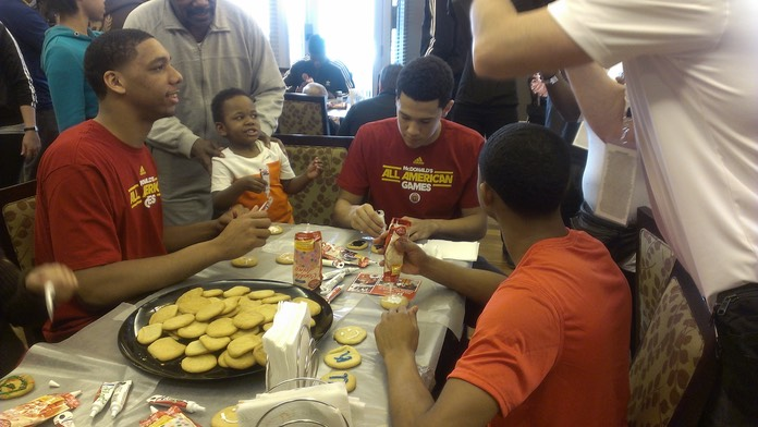 Jahlil Okafor (Duke), Devin Booker (Kentucky) and Trey Lyles (Kentucky) Decorate Cookies at Ronald McDonald House